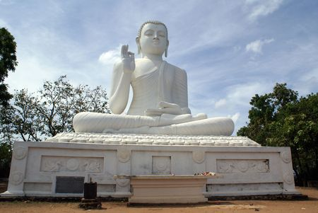 Big white Buddha in Mihintale, Sri Lanka                  photo