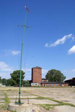 Brick house on the airfild near Baltysk, Russia                 photo