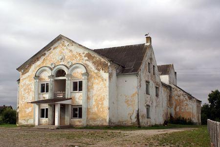 Old brick mansion with columns in Ksaliningrad region, Russia                   photo