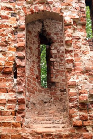 Brick wall of old castle Balga in Prussia, Kaliningrad region, Russia                    photo