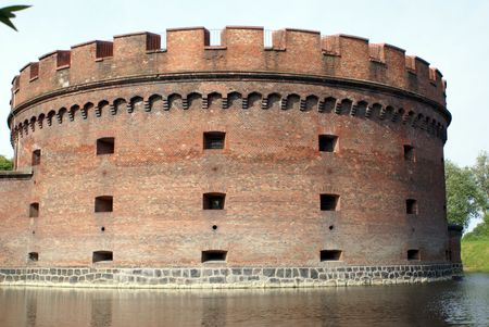 Big brick tower Dona near lake in Kaliningrad, Russia                    photo