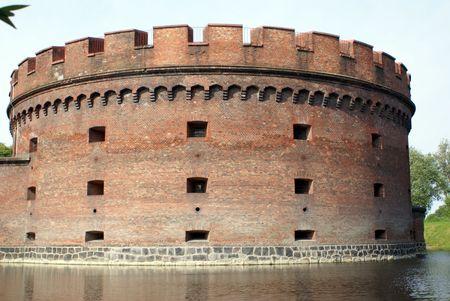 Big brick tower Dona near lake in Kaliningrad, Russia Stock Photo - 2017548