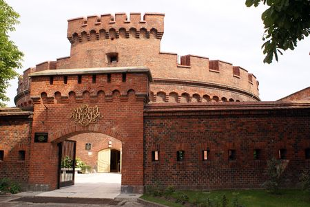 Brick old red Dona tower in Kaliningrad, Russia                   photo