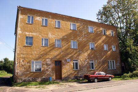 Old yellow house in Krasnoznamensk, Prussia, Kaliningrad region, Russia                    photo