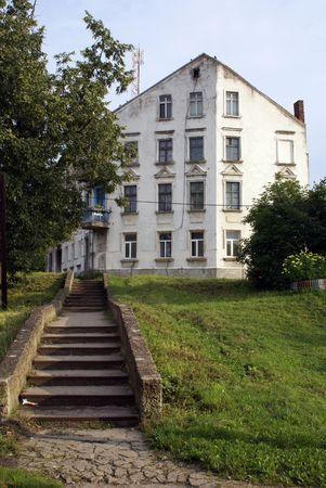 White house in Nesterov, Kaliningrad, Russia, Prussia            photo