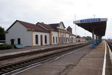 nesterov: Railway station Nesterov, Prussia, Kaliningrad, Russia                   Stock Photo