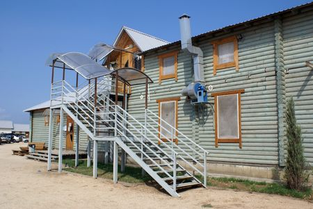 azov sea: Big wooden house on the Azov sea coiast, Russia                 Stock Photo