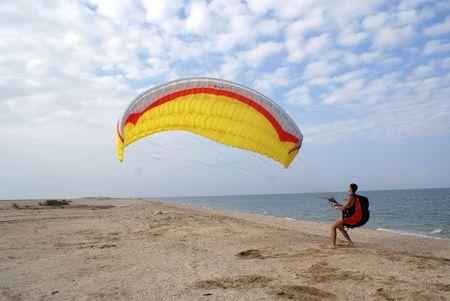 Parachute on the beach, Azov sea coast, south part of Russia                   photo