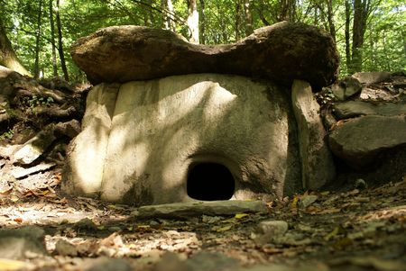 Big dolmen in the forest near Krasnaya Polyana, Sochi, Russia