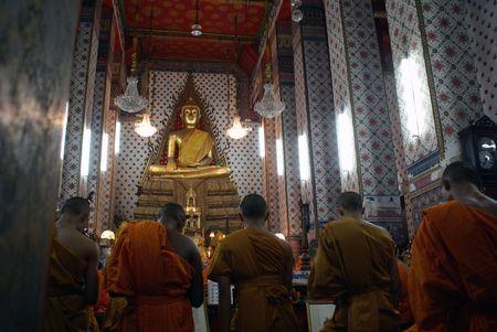Buddhist monks in buddhist temple, Bangkok Stock Photo - 2866929