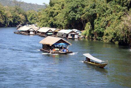 boater: Boats on the river Kwai near Kanchanbury