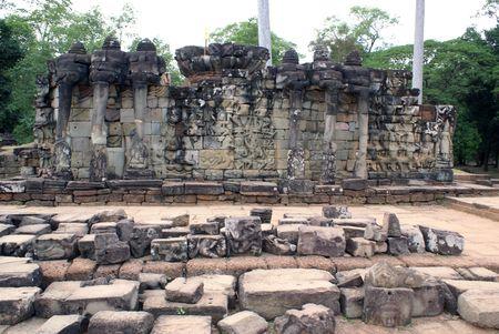 cambodia sculpture: Wall with elephants, Angkor, Cambodia                  Stock Photo