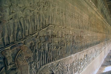 mahabharata: Mahabharata on the wall of Angkor wat, Cambodia