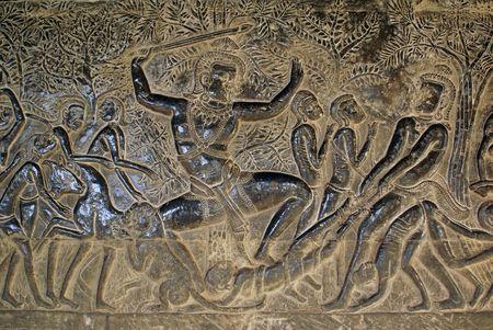 cambodia sculpture: Heroes of Mahabharata, Angkor wat, Cambodia