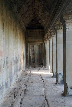cambodia sculpture: Corridor in Angkor wat, Cambodia