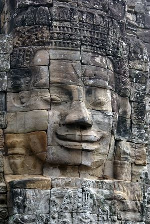 Face on the wall in Bayon temple, Angkor, Cambodia                photo