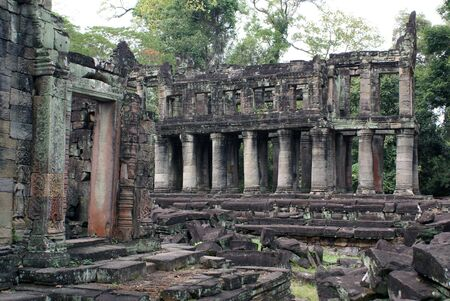 Temple with columns, Angkor, Cambodia            photo