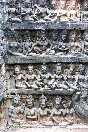 cambodia sculpture: Bas-relief in the temple, Angkor, Cambodia                 Stock Photo