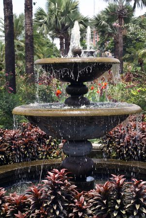 fountainhead: Water and stone fountain in garden