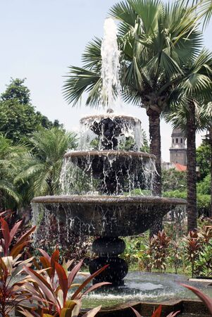 fountainhead: Fountain and palm tree in the fort of Manila