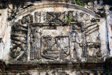 melacca: Bas-relief on the gate of old fort in Melaka                   Stock Photo