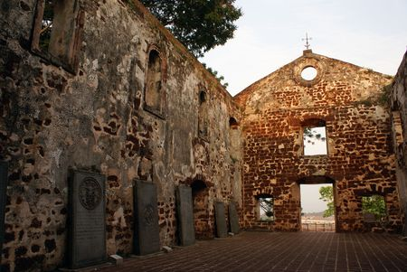 Stones inside the church of Saint Paul in Melaka