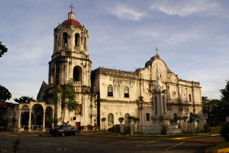 manila: Morning and big Catholic cathedral in Sebu, Philippines                    Stock Photo