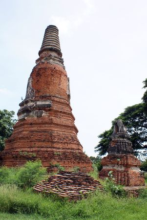 ayuthaya: Two brick stupas in Ayuthaya, central Thailand