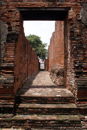 Corridor in wat Tummickarat in Ayuthaya, central Thailand                   photo