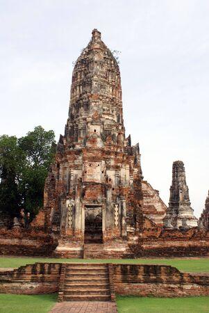 Red brick pagoda in at Chai Wattanaram in Ayuthaya, Thailand                  photo