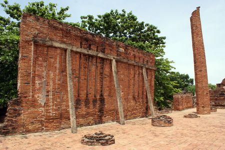 Ruins in wat Mahathat in Ayuthaya, central Thailand                     photo