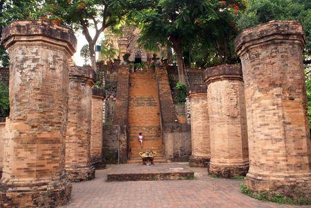 Columns near Po Nagar cham tower in Nha Trang, Vietnam               photo