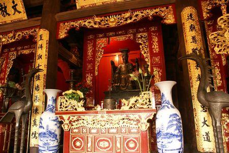 Buddhist shrine inside pagoda in Hanoi, Vientam                photo