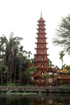 パゴダ華 Tran フーコック島、湖 Ho Tay、ハノイ、ベトナム 写真素材