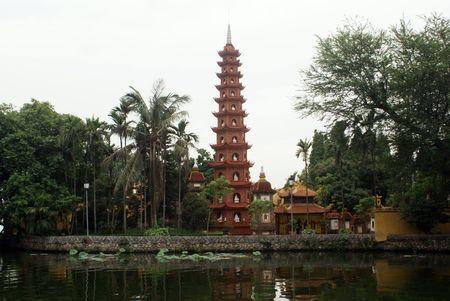 tran: Pagoda Chua Tran Quoc on the lake Ho Tay in Hanoi, Vietnam