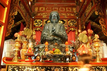 Shrine inside pagoda in Hanoi, north Vietnam                  photo