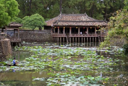 hue: Pavilion and lake on the ground of Tu Duc tomb complex in Hue, Vietnam                  Stock Photo