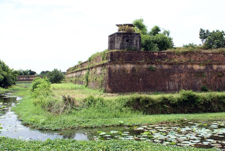 middle east fighting: Moat and corner of citadel in Hue, Vietnam
