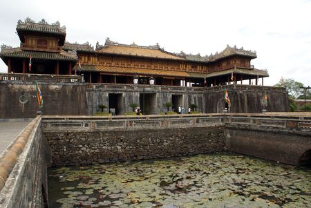 middle east fighting: Moat and royal palace in citadel, Hue, Vietnam                   Stock Photo