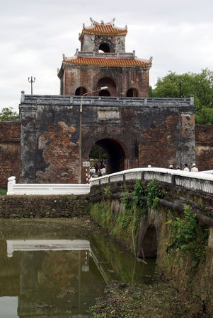 middle east fighting: Gate and moat of citadel in Hue, central Vietnam