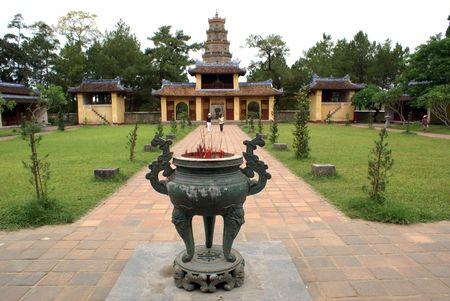 hue: Inner yard of pagoda Thien Mu in Hue, central Vietnam