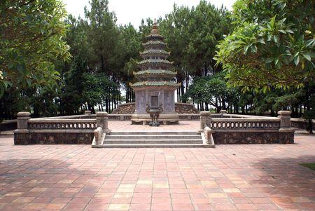 hue: Pagoda and inner yard, Thien Mu, Hue, Vietnam             Stock Photo