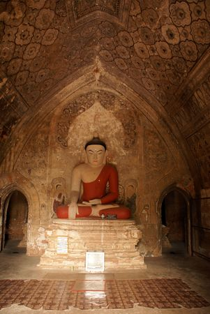 maitreya: Buddha in buddhist pagoda in Bagan in Bagan, Myanmar   Stock Photo