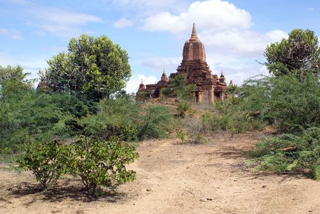Footpath to the brick pagoda in Bagan, Myanmar                   photo