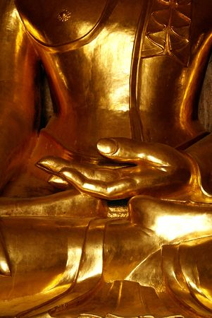 maitreya: Palm of golden Buddha in buddhist temple in Bagan, Myanmar