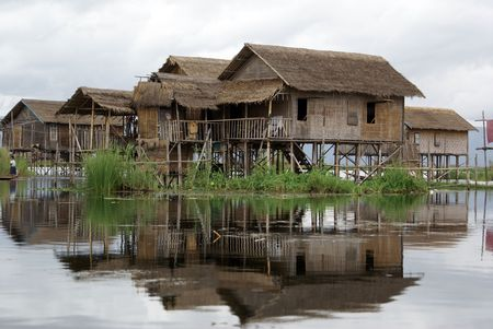 inle: Houses on the water of Inle lake, Shan State, Myanmar