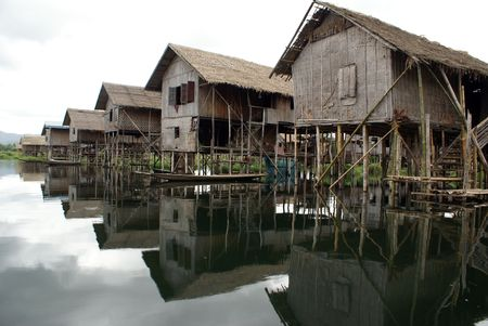 Houses on the water, Inle lake, Shan State, Myanmar             photo