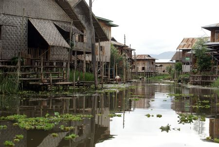 Houses on the canal, Inlle lake, Shan State, Myanmar               photo