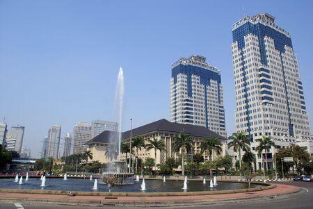 Big fountain on Jalan Tamrin in central Jakarta, Indonesia                  photo