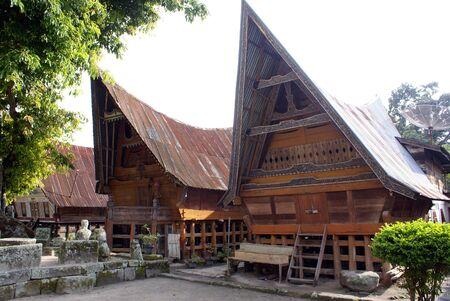 Houses on the SAmosir island, lake Toba, Sumatra                Stock Photo